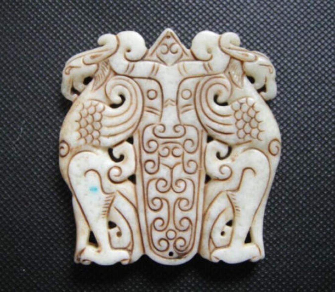 Old China White jade hand-carved phoenix Pendant