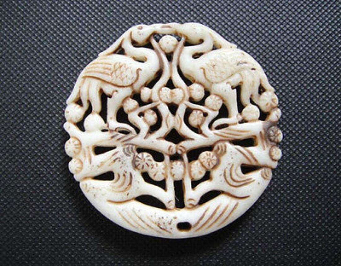 Old China Jade Carved plum blossom and crane Pendant