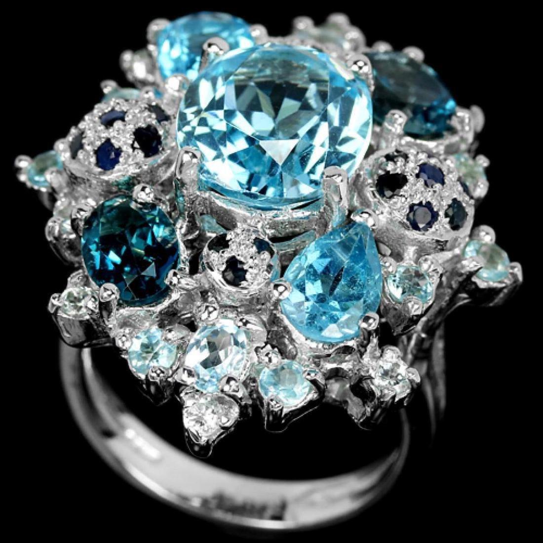 Natural SKY, SWISS & LONDON TOPAZ & BLUE SAPPHIRE Ring