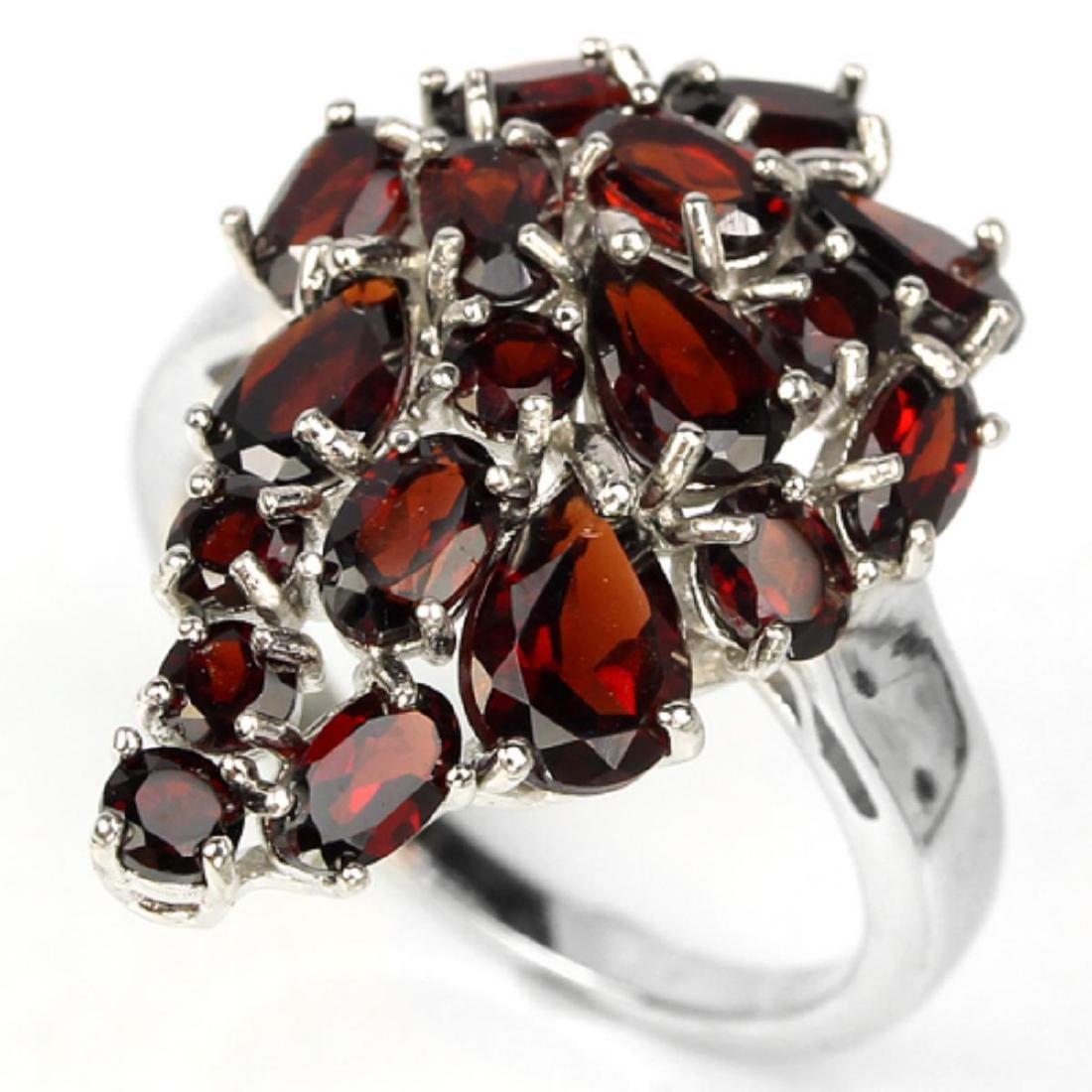 Natural Dark Red Garnet Ring