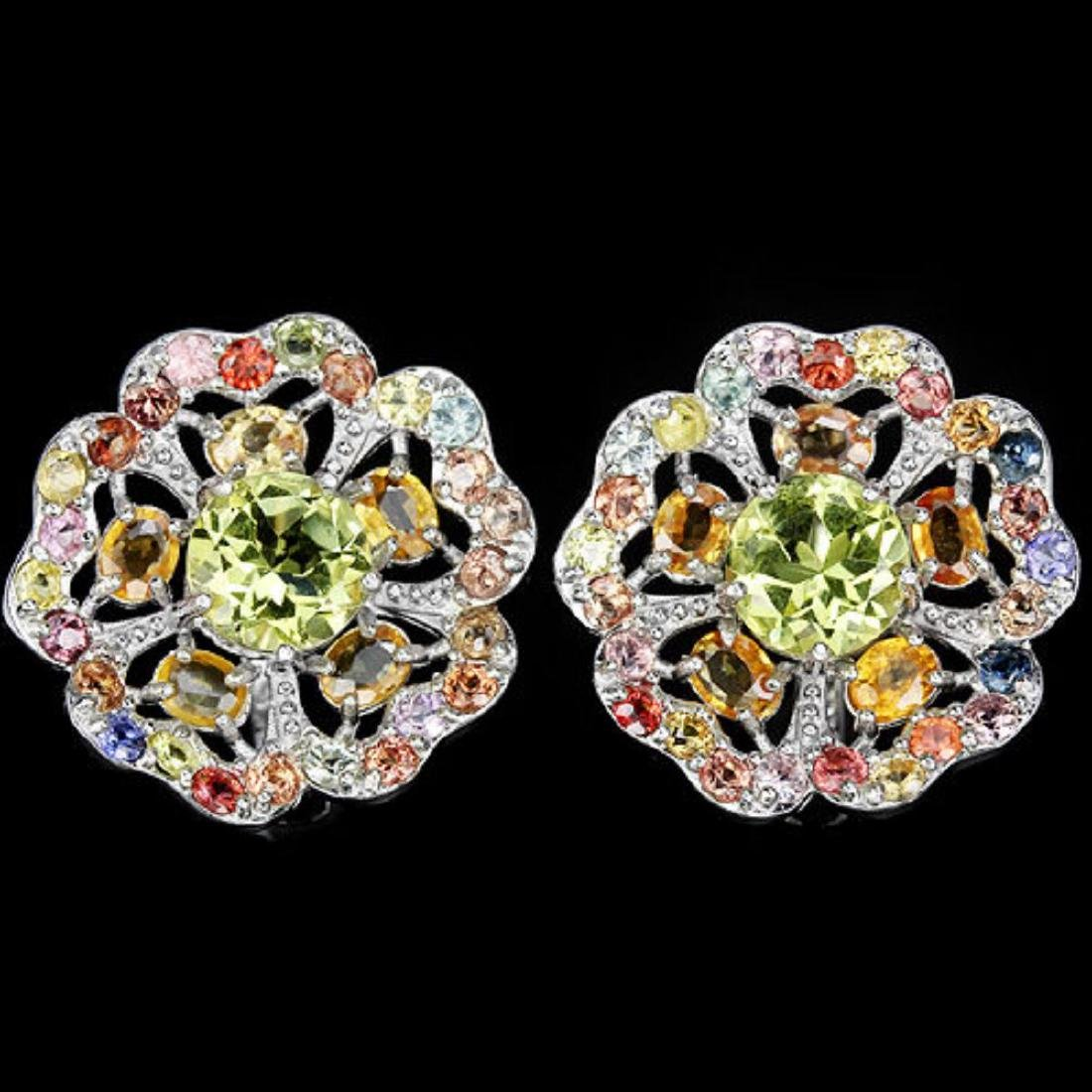 Natural Fancy Sapphire & Lemon Quartz EarRing