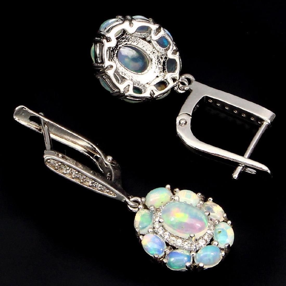 Natural Firing Rainbow Ethopian Opal Earrings - 2