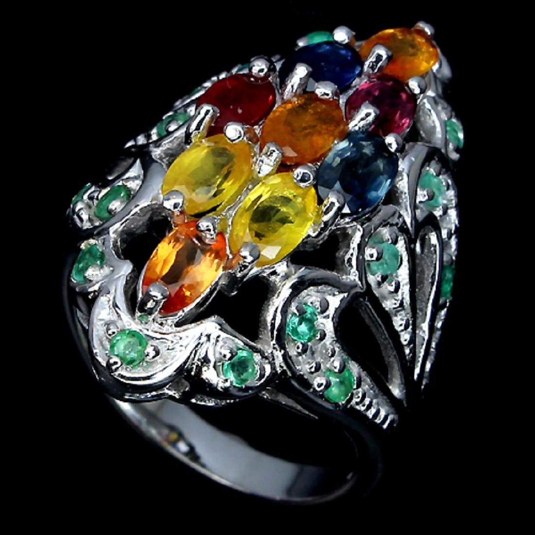 Natural Fancy Sapphire & Emerald Ring - 2