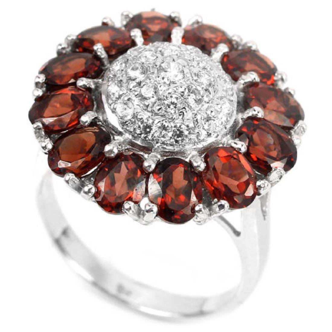 NATURAL GARNET & WHITE CZ 27 Cts Ring - 2