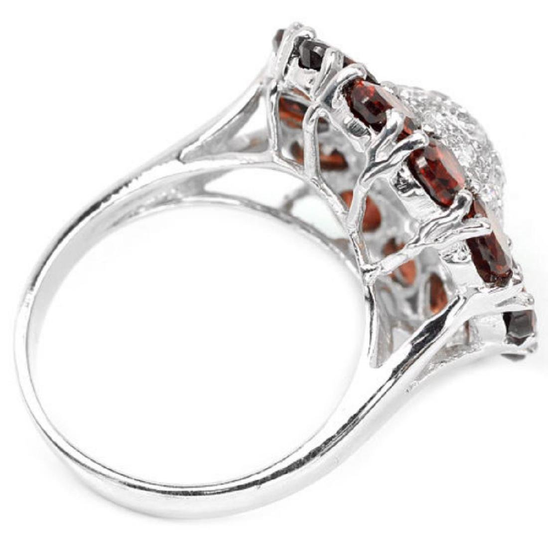 NATURAL GARNET & WHITE CZ 27 Cts Ring - 3