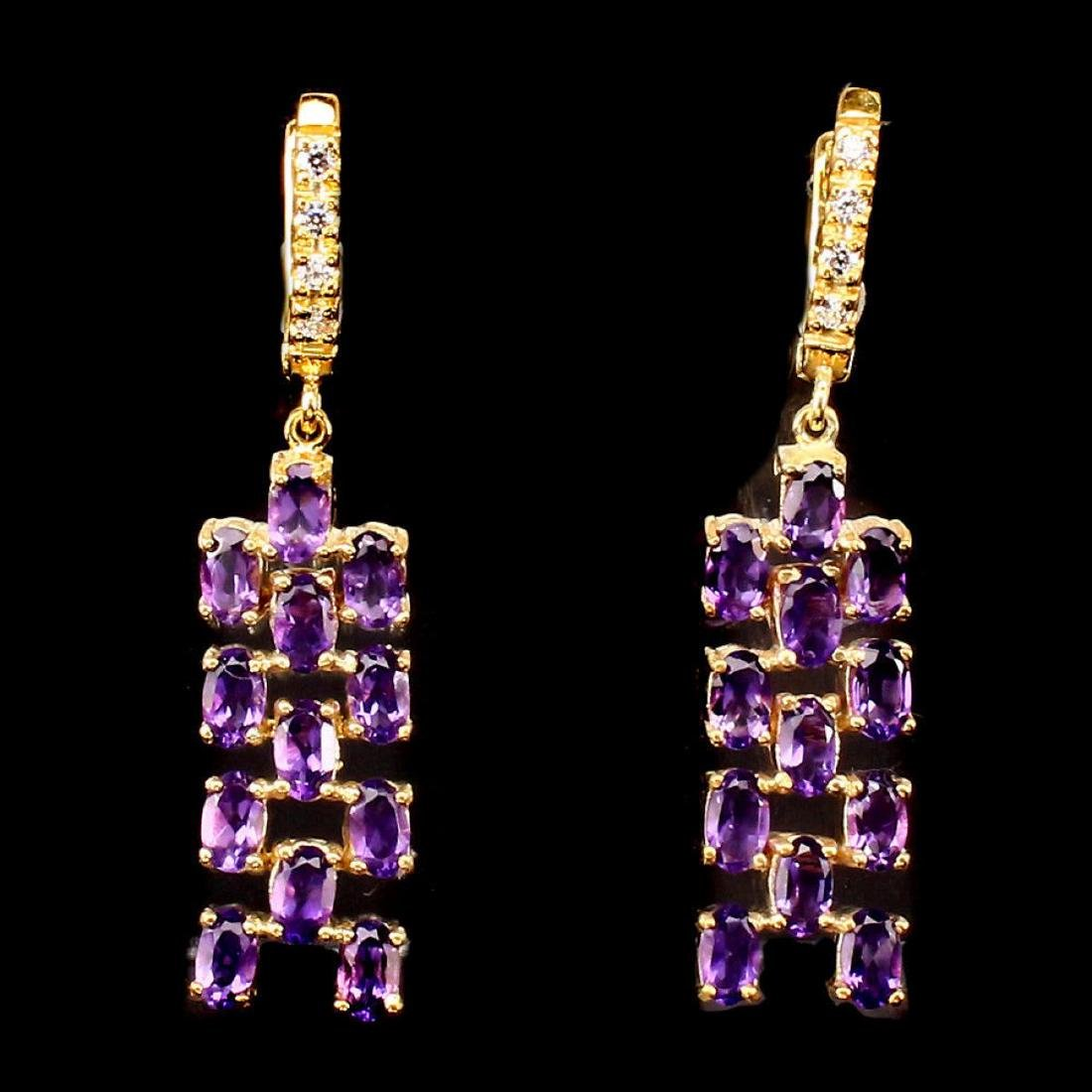 Natural Intense Purple Amethyst Earrings