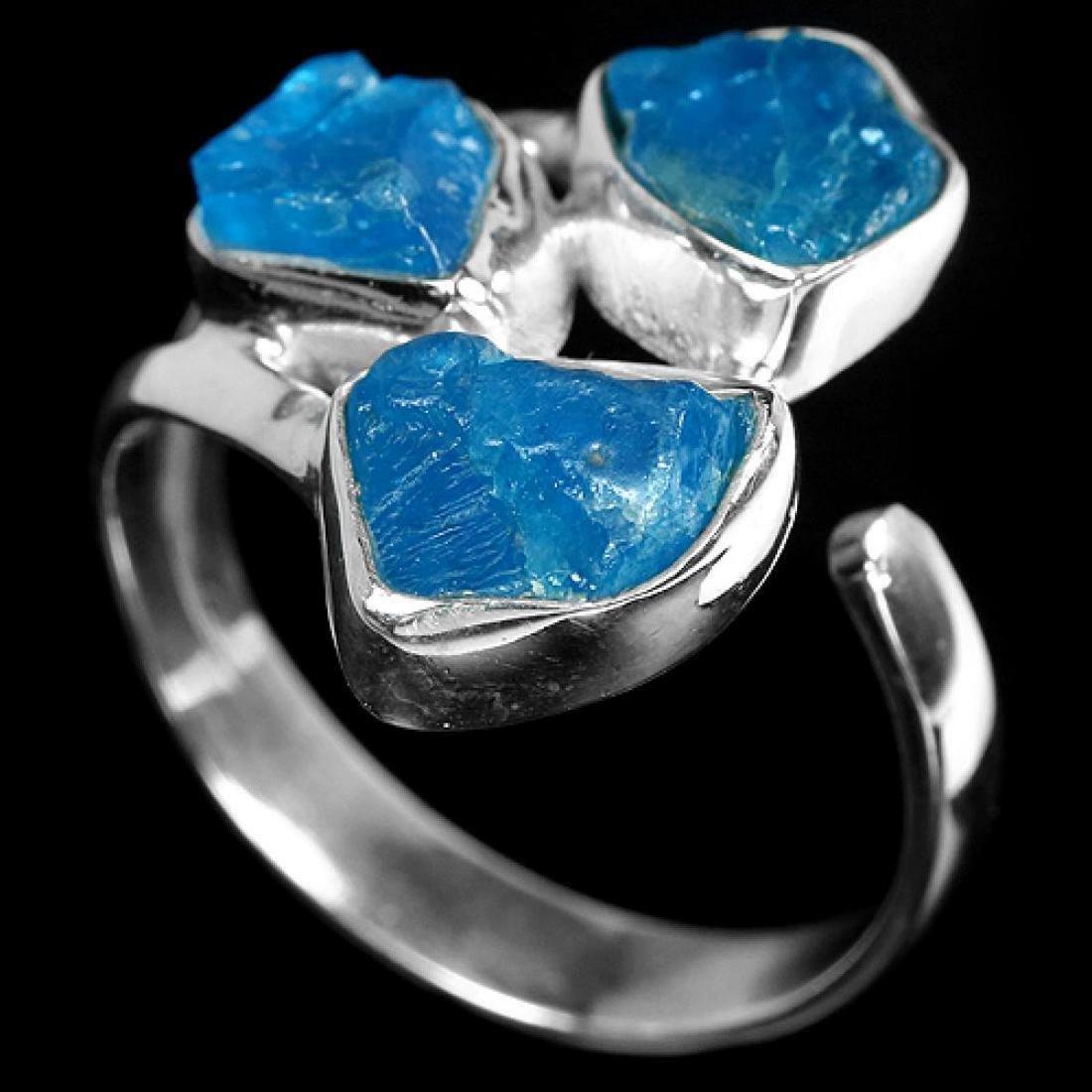 Natural Paraiba Blue Rough Apatite Free Size Ring