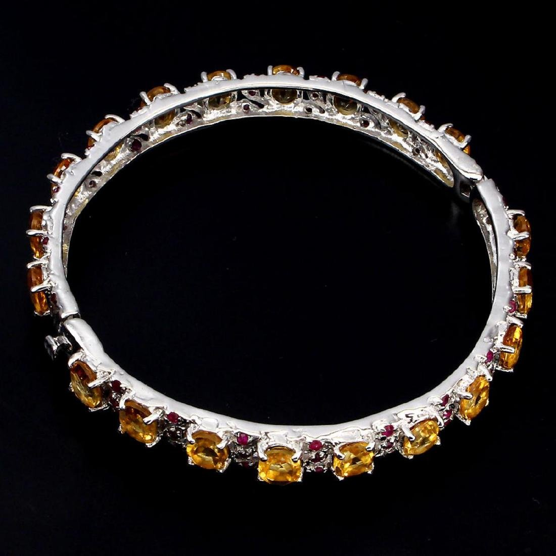 Natural  Yellow Citrine Red Ruby Bangle - 2