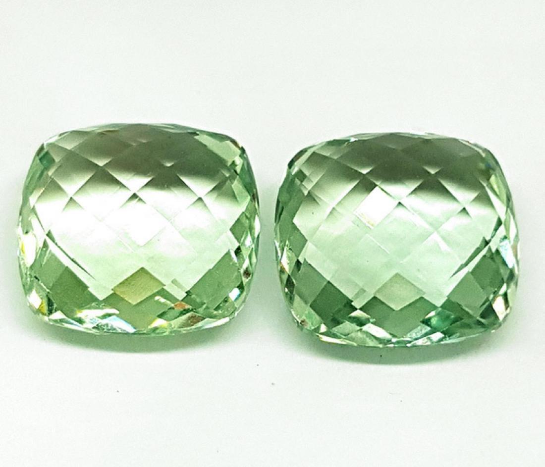 Natural Cushion Double Checker Green Amethyst Pair - FL