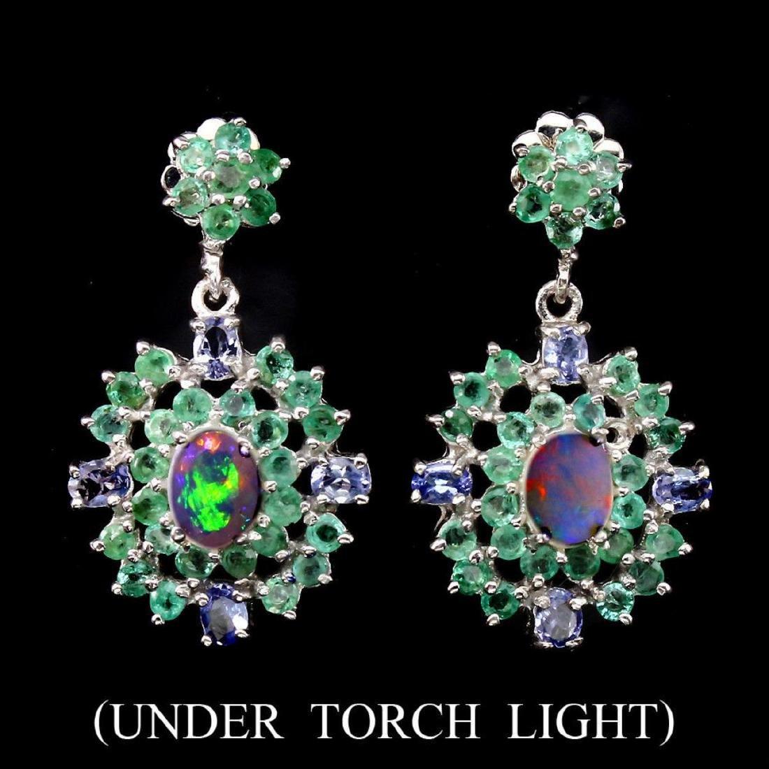 Natural White Opal Emerald Tanzanite 57 Cts  Earrings