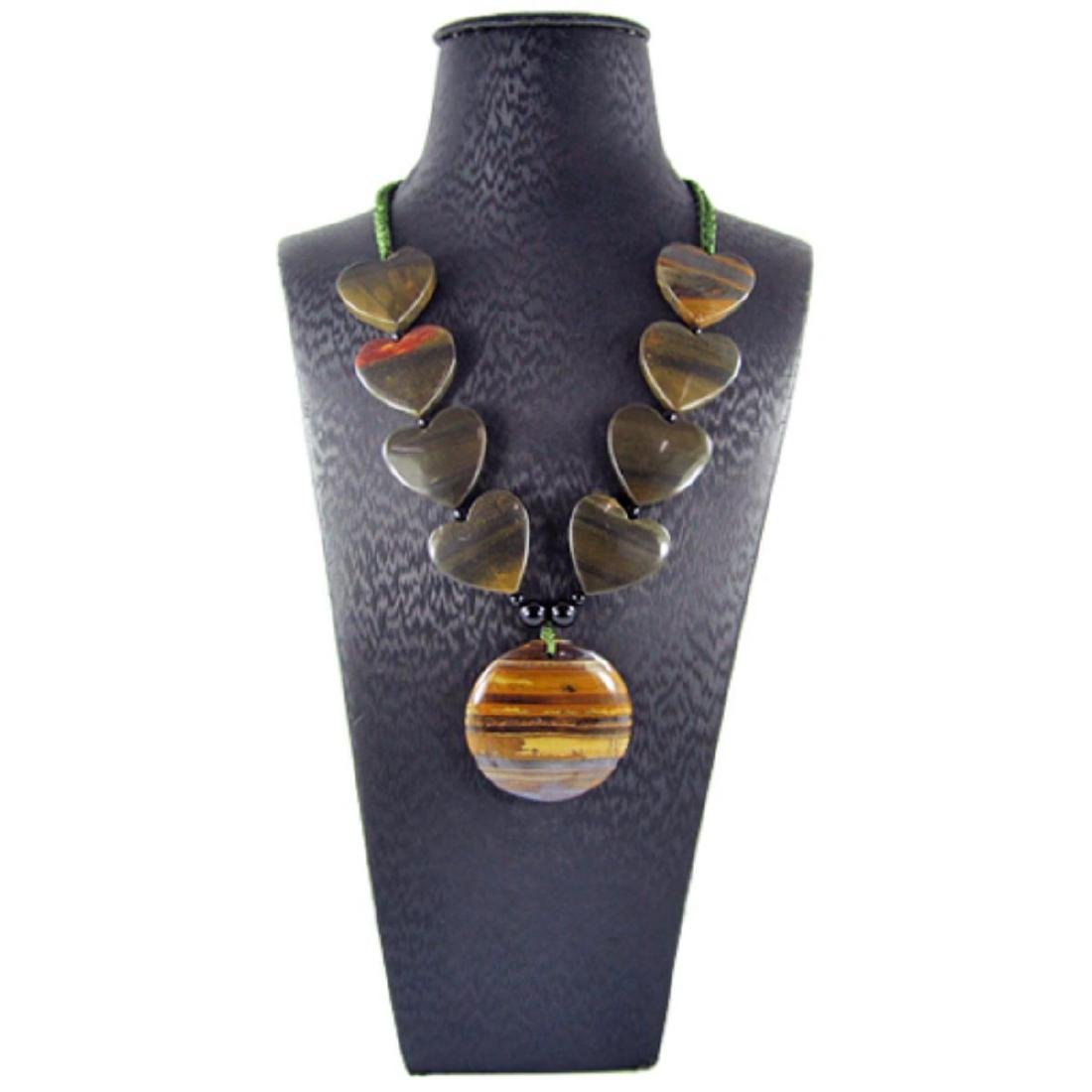 Natural Tiger's Eye Hand-Made Diamond Polished Necklace