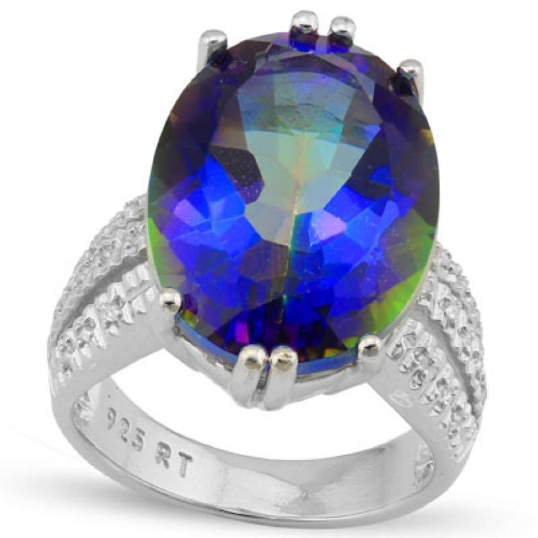 Natural Ocean Mystic Gem & Diamond 11.60 Ct Ring