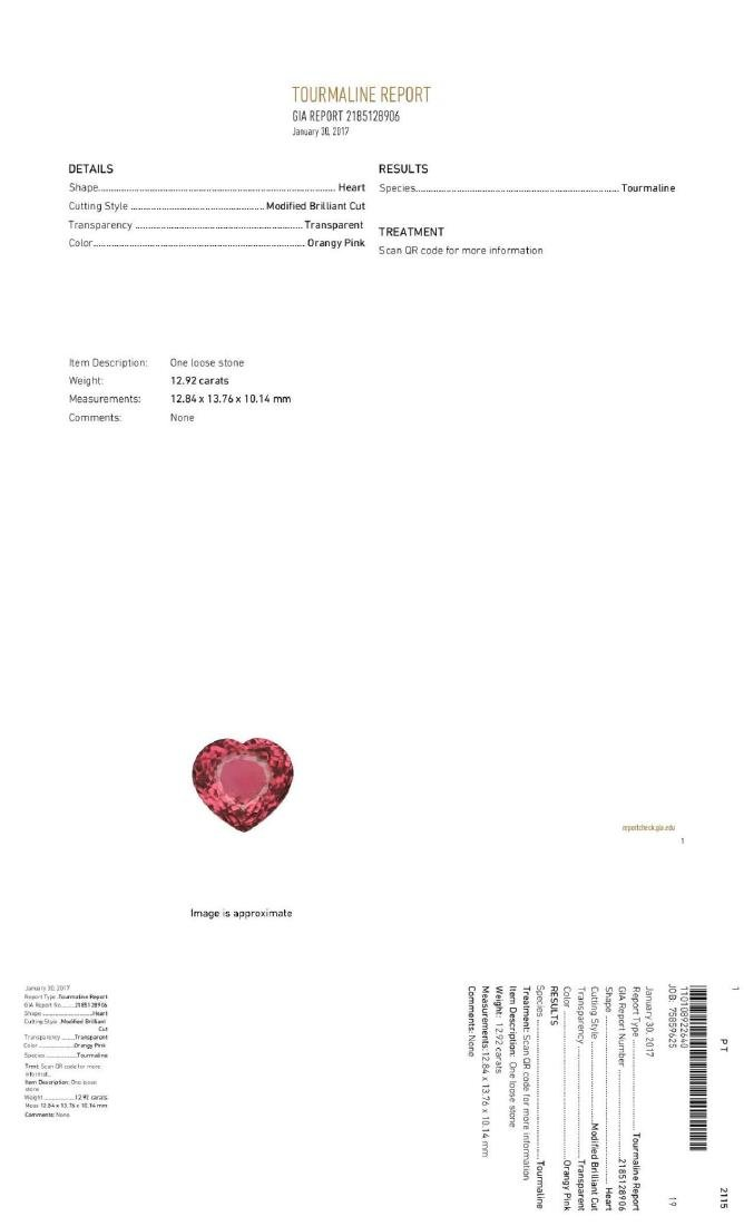 Natural  Pink Tourmaline Heart 12.92 Ct - VVS - GIA - 2
