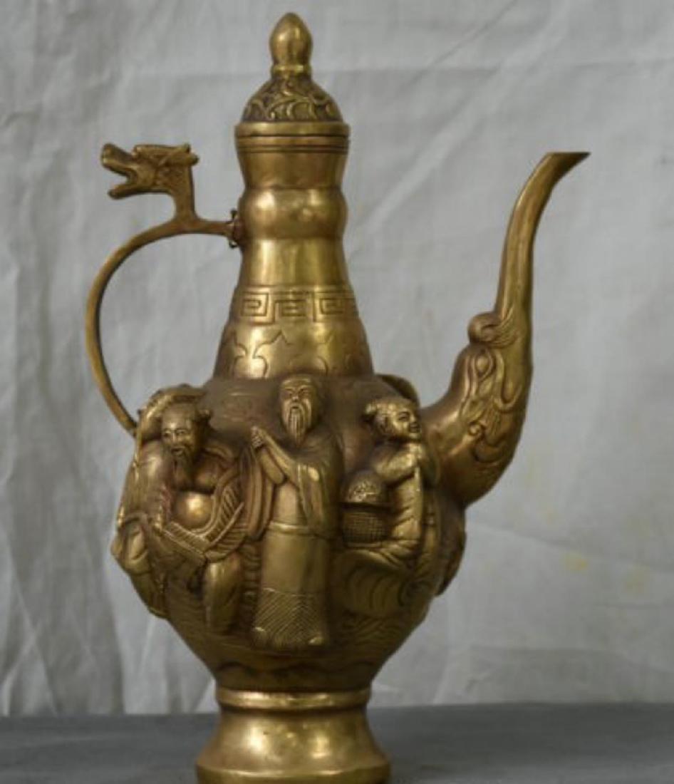 Chinese Brass 8 Immortals Wine Tea/ Wine Pot
