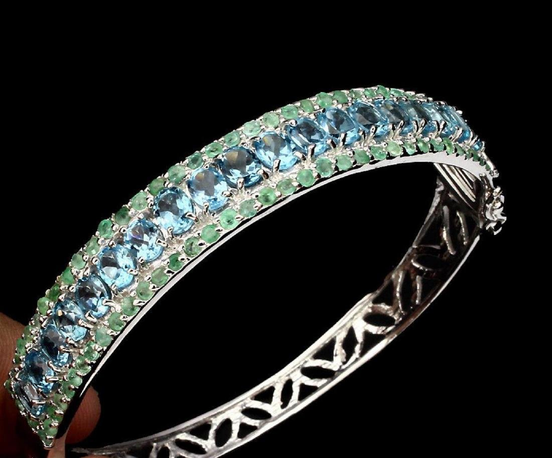 Natural Swiss Blue Topaz 5x4 MM & Emerald Bangle - 2