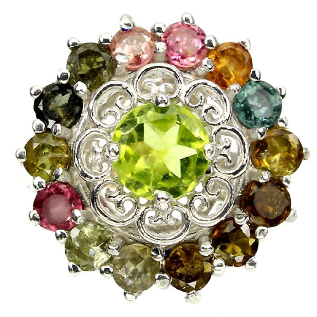 Natural Multi Gemstone Ring - 2