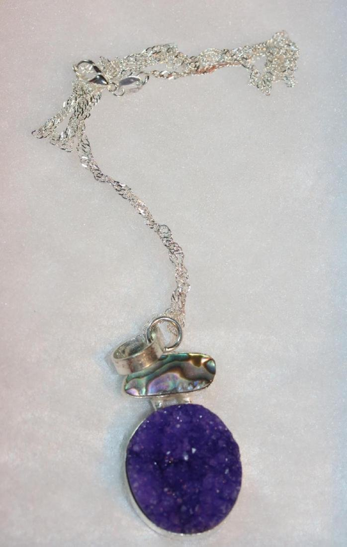 Natural Amethyst & Abalone Necklace - 2