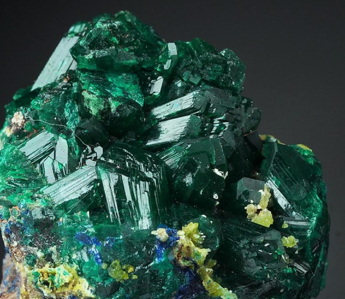 Natural DIOPTASE - RARE crystals Cluster - 3