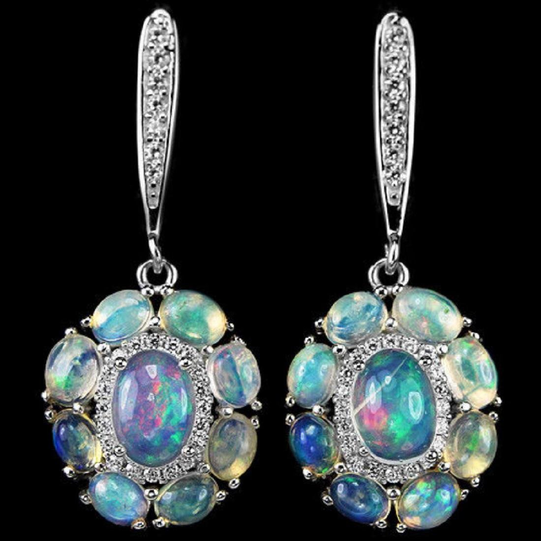 NATURAL AAA RAINBOW OPAL Earrings