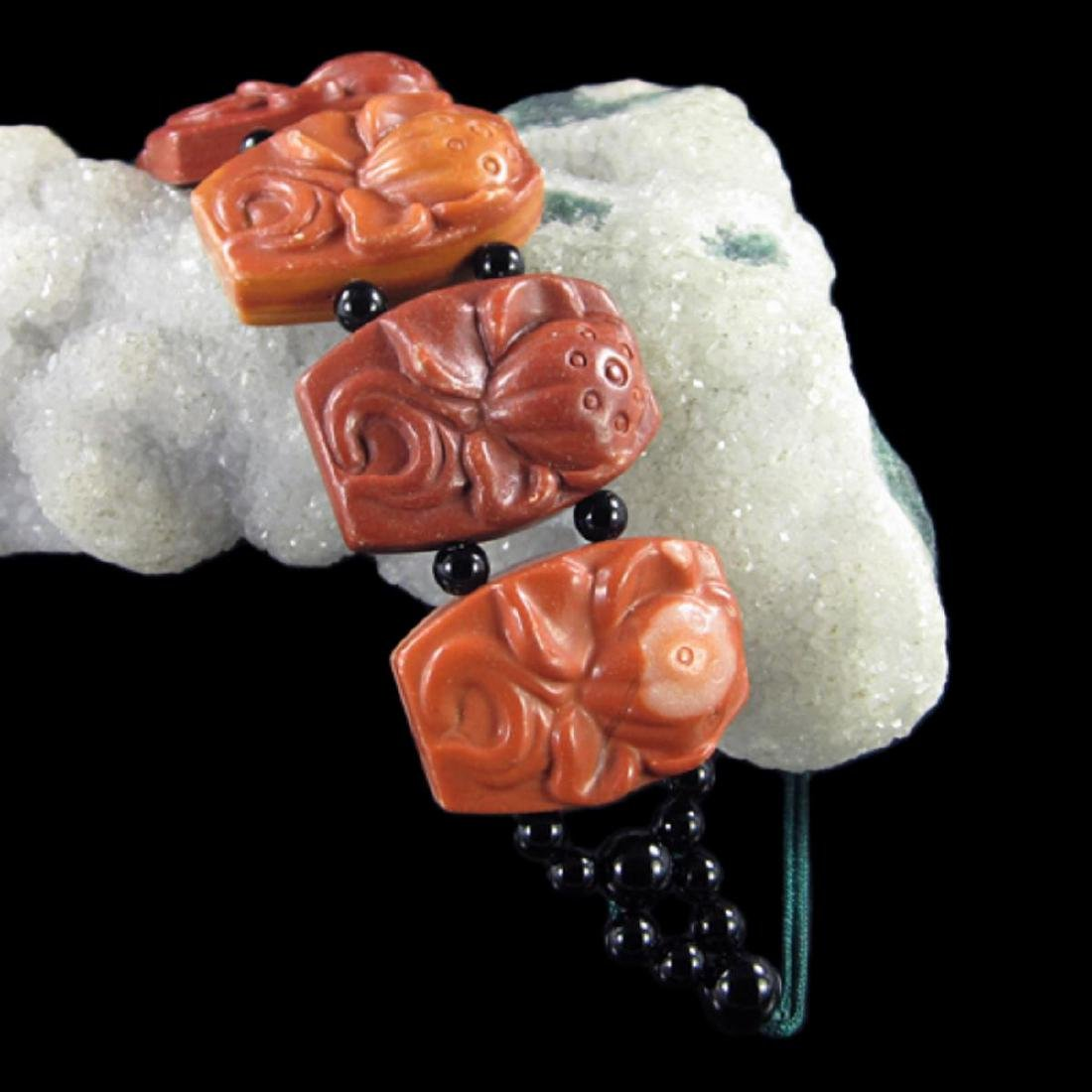 Natural Stone Hand Carved Meditation Lotus Bracelet - 3