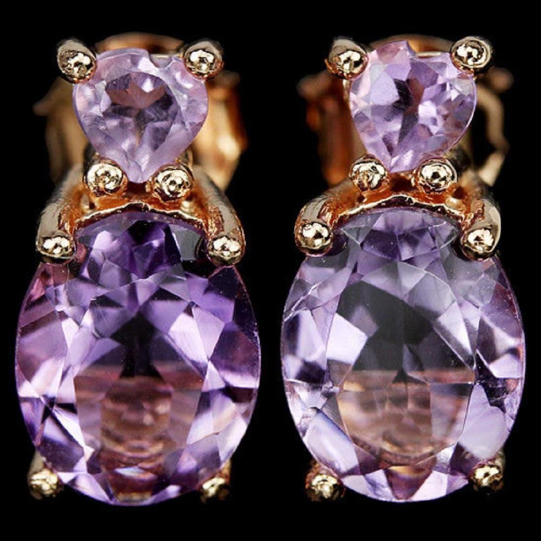 NATURAL PURPLE AMETHYST OVAL & HEART Earrings