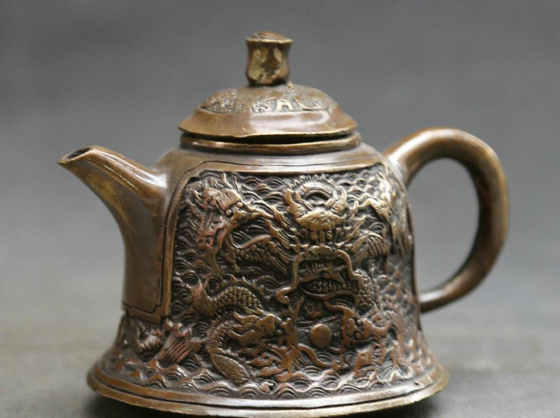 Antique  Marked Chinese Bronze Dynasty Dragons Kettle - 2
