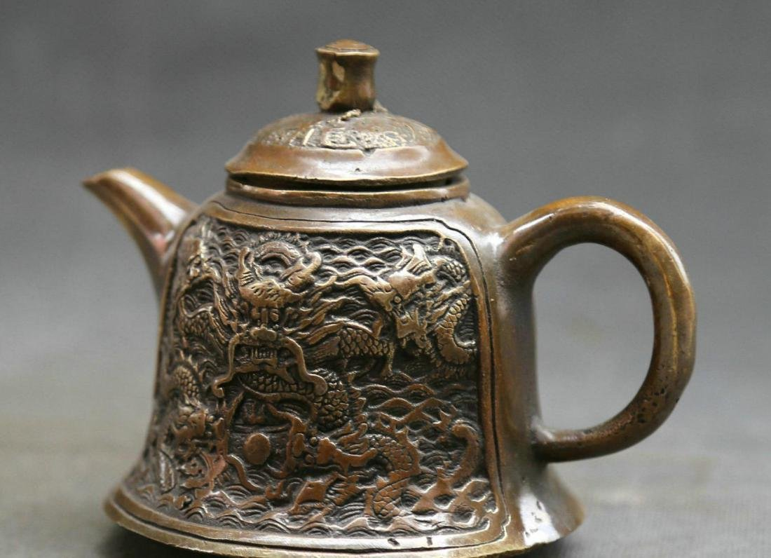 Antique  Marked Chinese Bronze Dynasty Dragons Kettle - 3