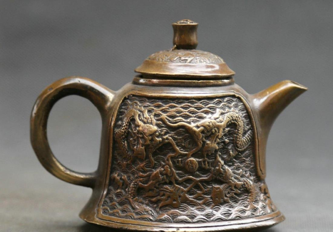 Antique  Marked Chinese Bronze Dynasty Dragons Kettle - 5
