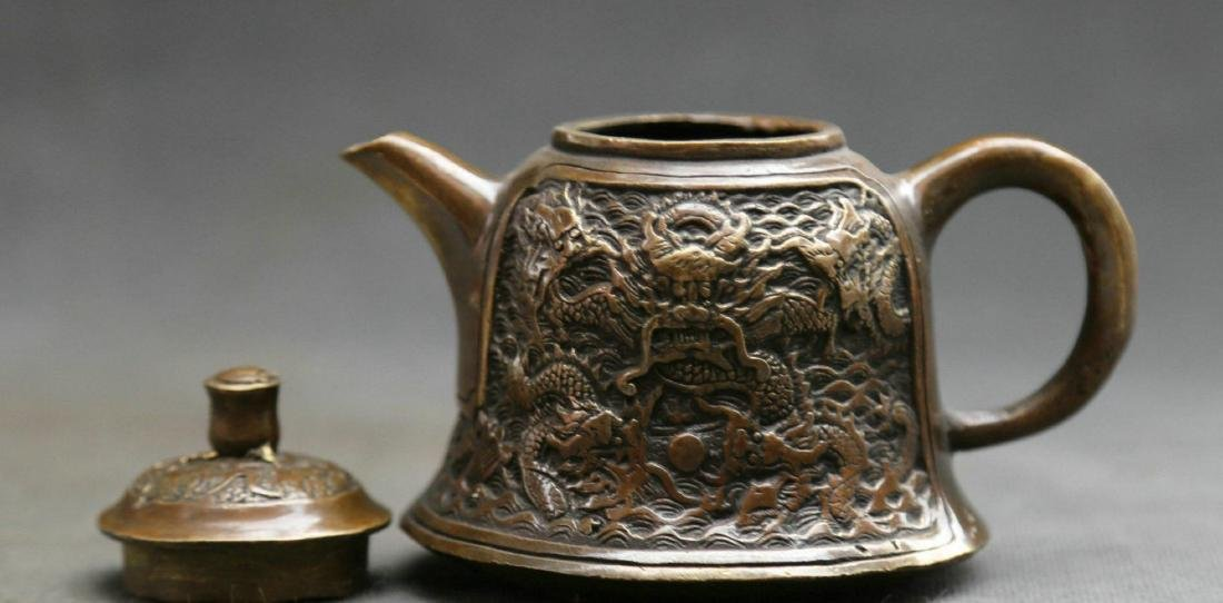 Antique  Marked Chinese Bronze Dynasty Dragons Kettle - 8