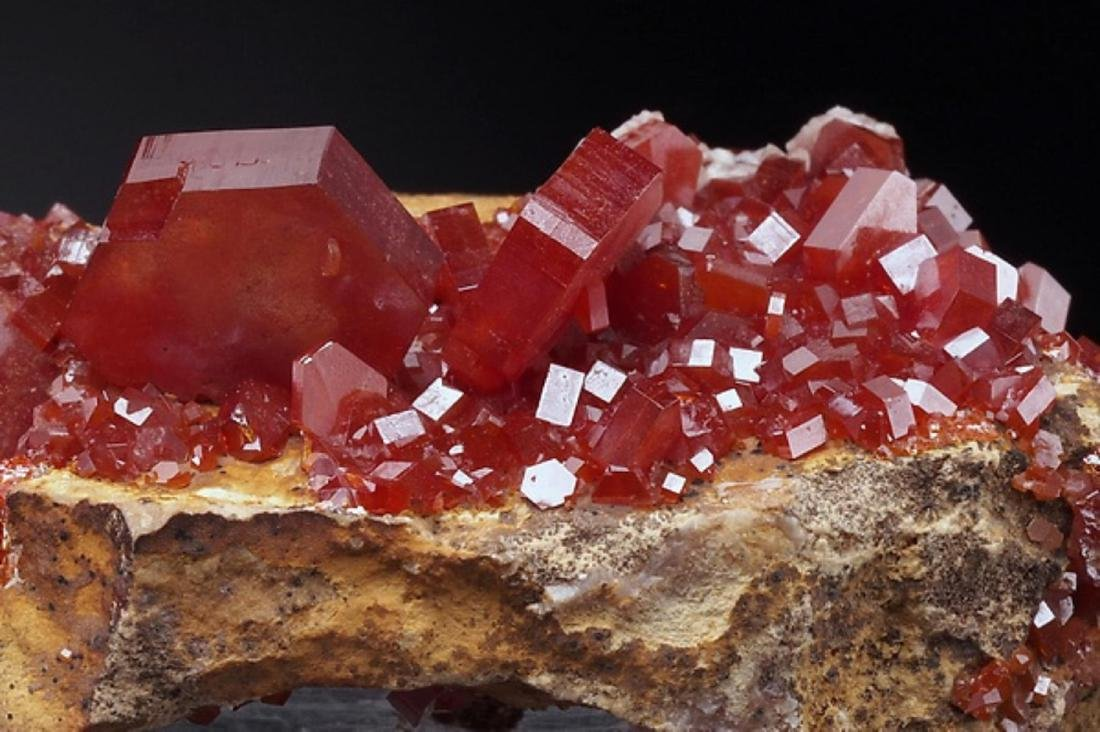 Natural VANADINITE - lustrous Crystals on Matrix - 4