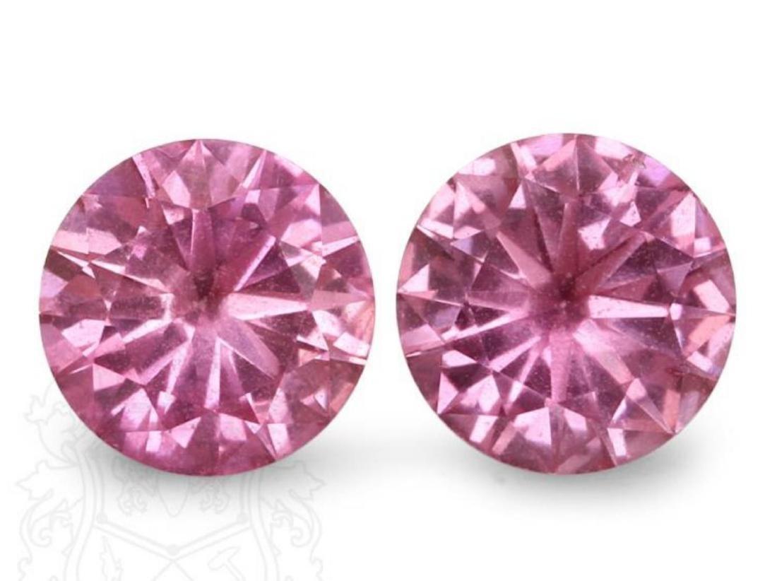 Natural Pink Round Sapphire Pair 2.05 Carats - VVS