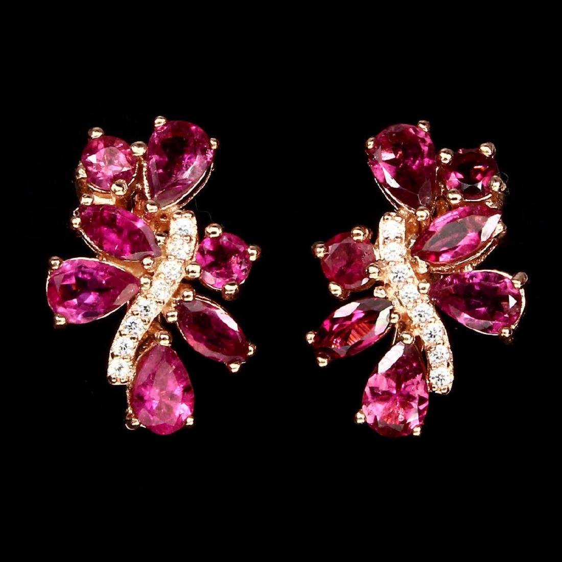 Stunning Top Rich Pink Tourmaline Earrings