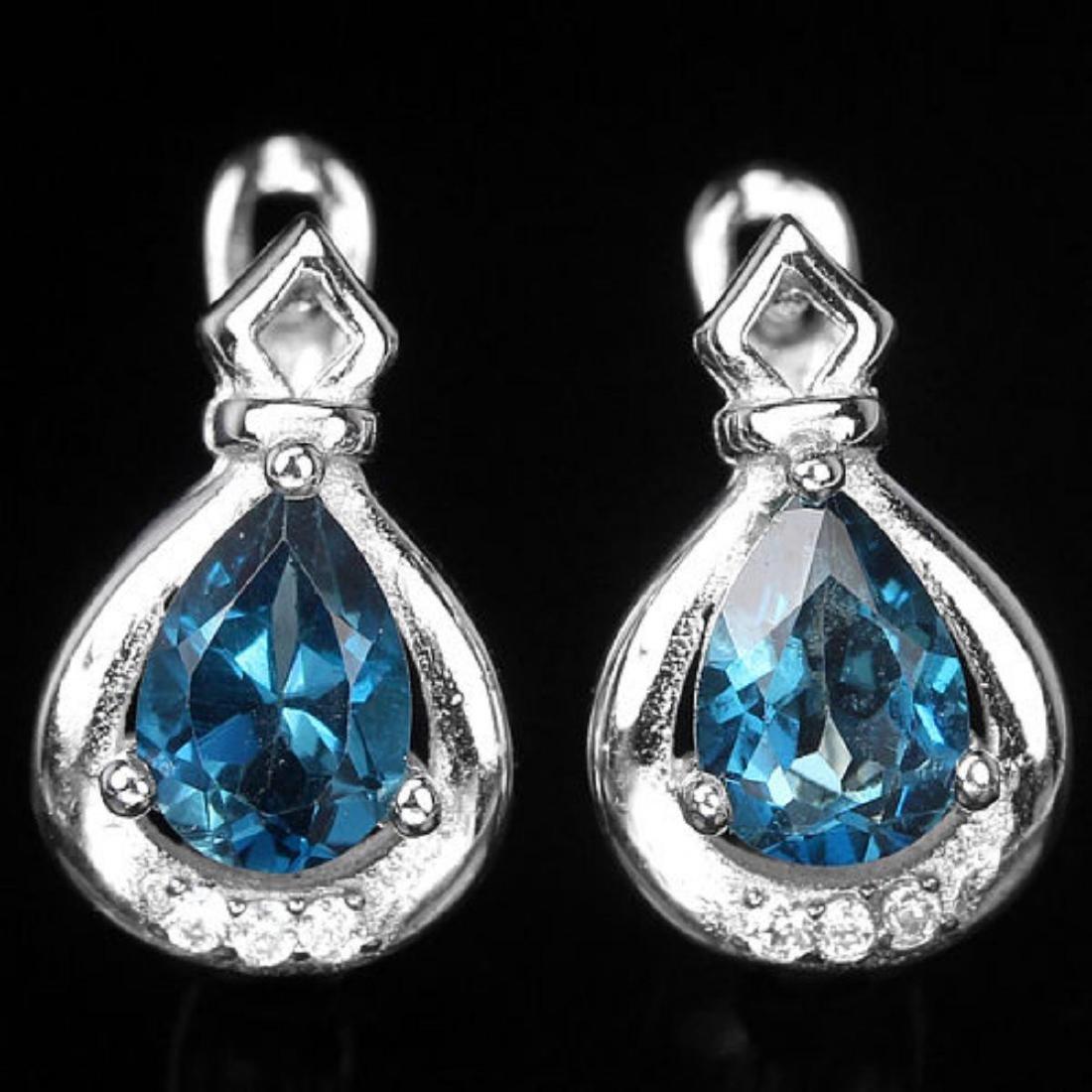 Natural London Blue Topaz Earrings