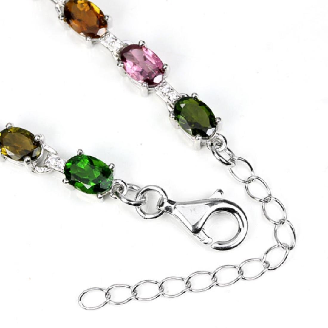 Natural Fancy Tourmaline & Chrome Dioposide Bracelet - 3