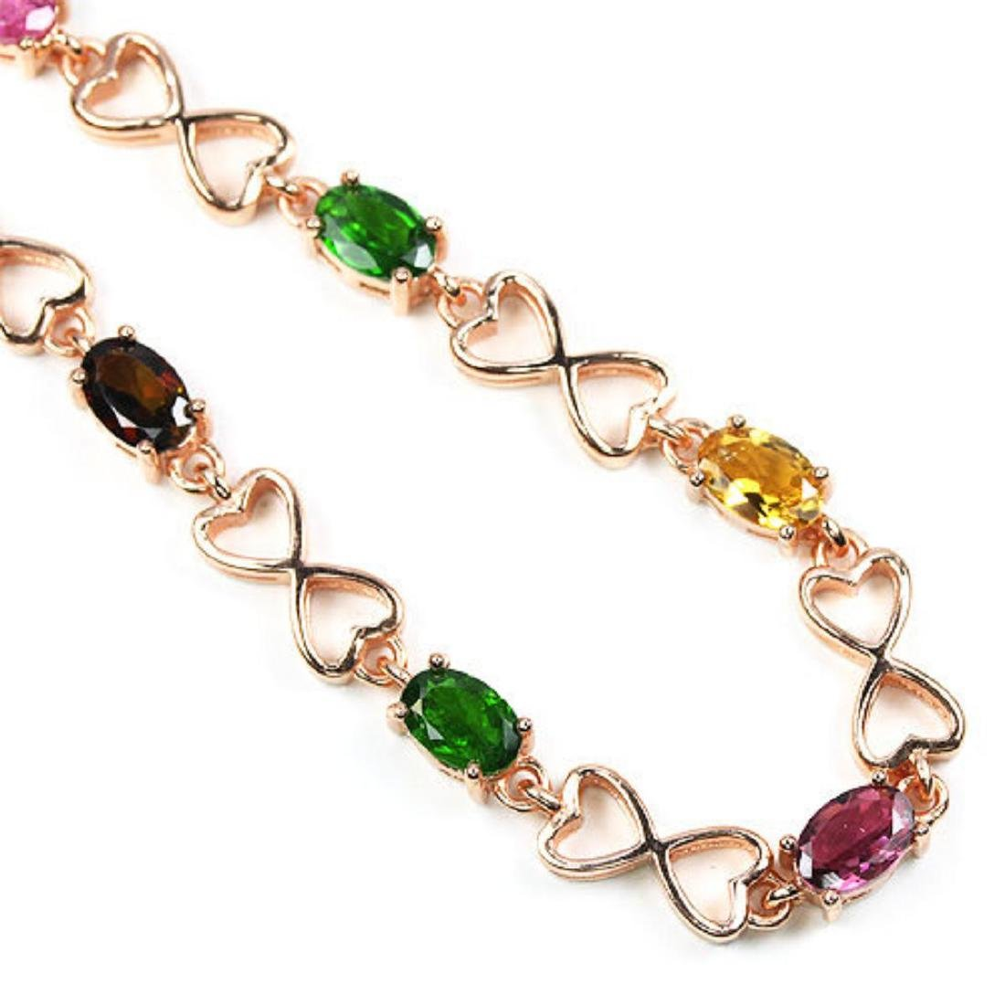 Natural MULTI COLOR TOURMALINE CHROME DIOPSIDE Bracelet - 2