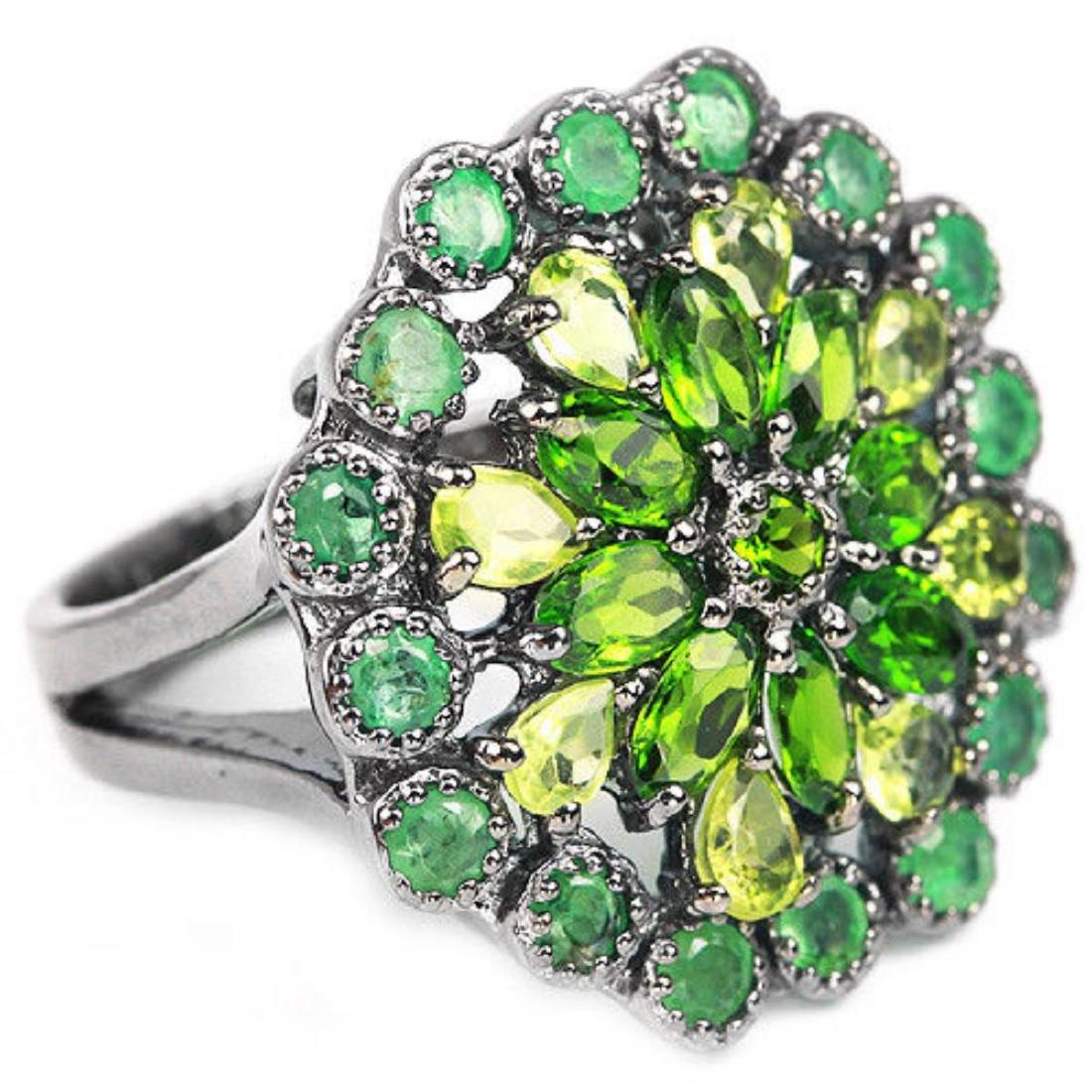 Natural Emerald Peridot & CH-Diopside Ring - 2