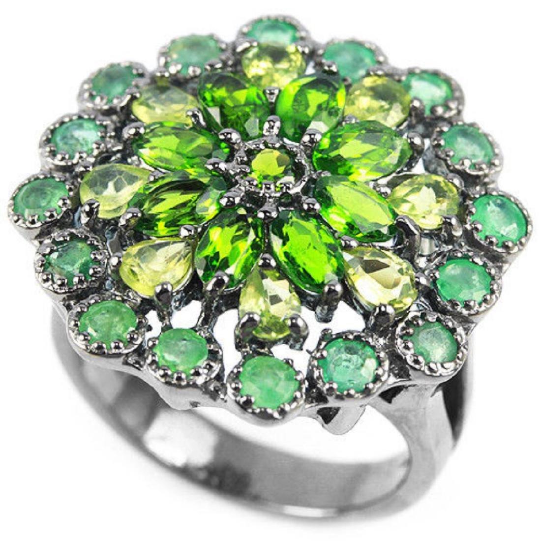 Natural Emerald Peridot & CH-Diopside Ring - 3