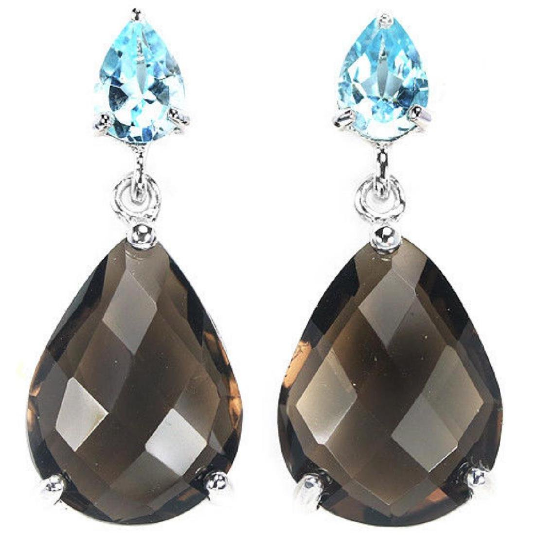 NATURAL SMOKY QUARTZ & SKY BLUE TOPAZ Earrings