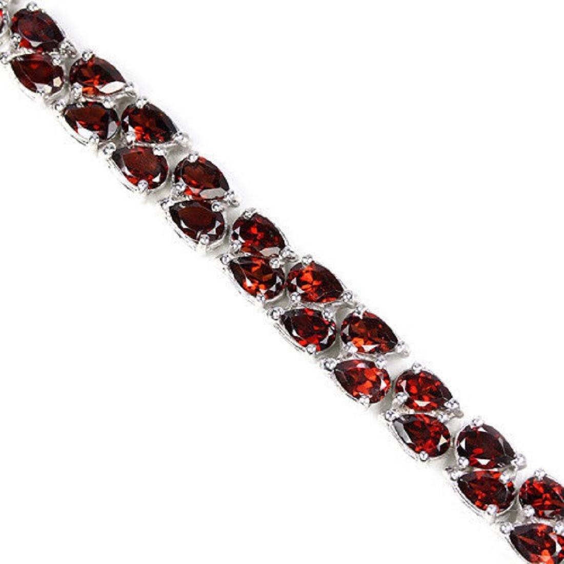 NATURAL AAA DARK ORANGE RED GARNET Bracelet - 2