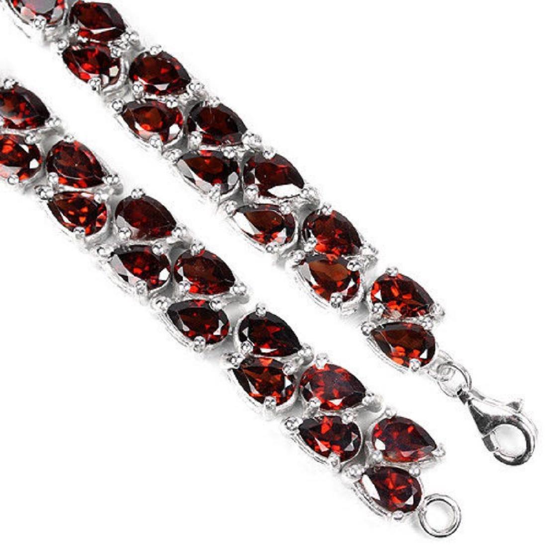 NATURAL AAA DARK ORANGE RED GARNET Bracelet - 3