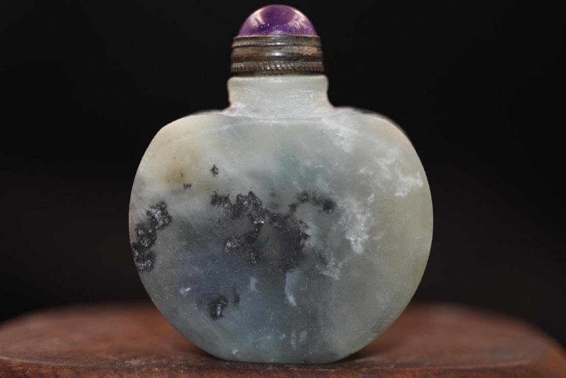 Antique Hand Carved Jade Snuff Bottle - 2