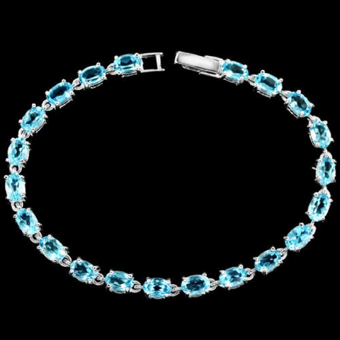 Natural SWISS BLUE TOPAZ Bracelet
