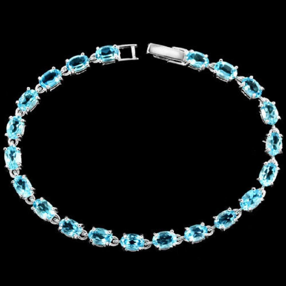 Natural SWISS BLUE TOPAZ Bracelet