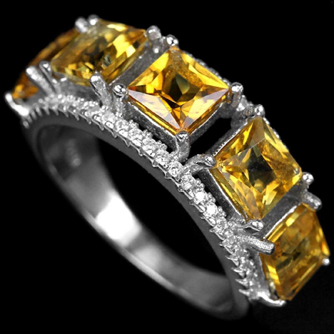 YELLOW CITRINE SQUARE-PRINCESS RING
