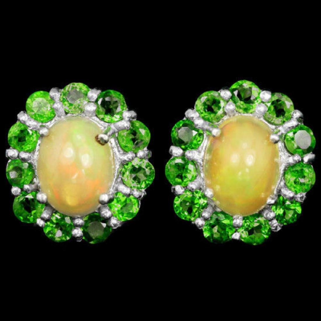 NATURAL OPAL & TSAVORITE GARNET Earrings