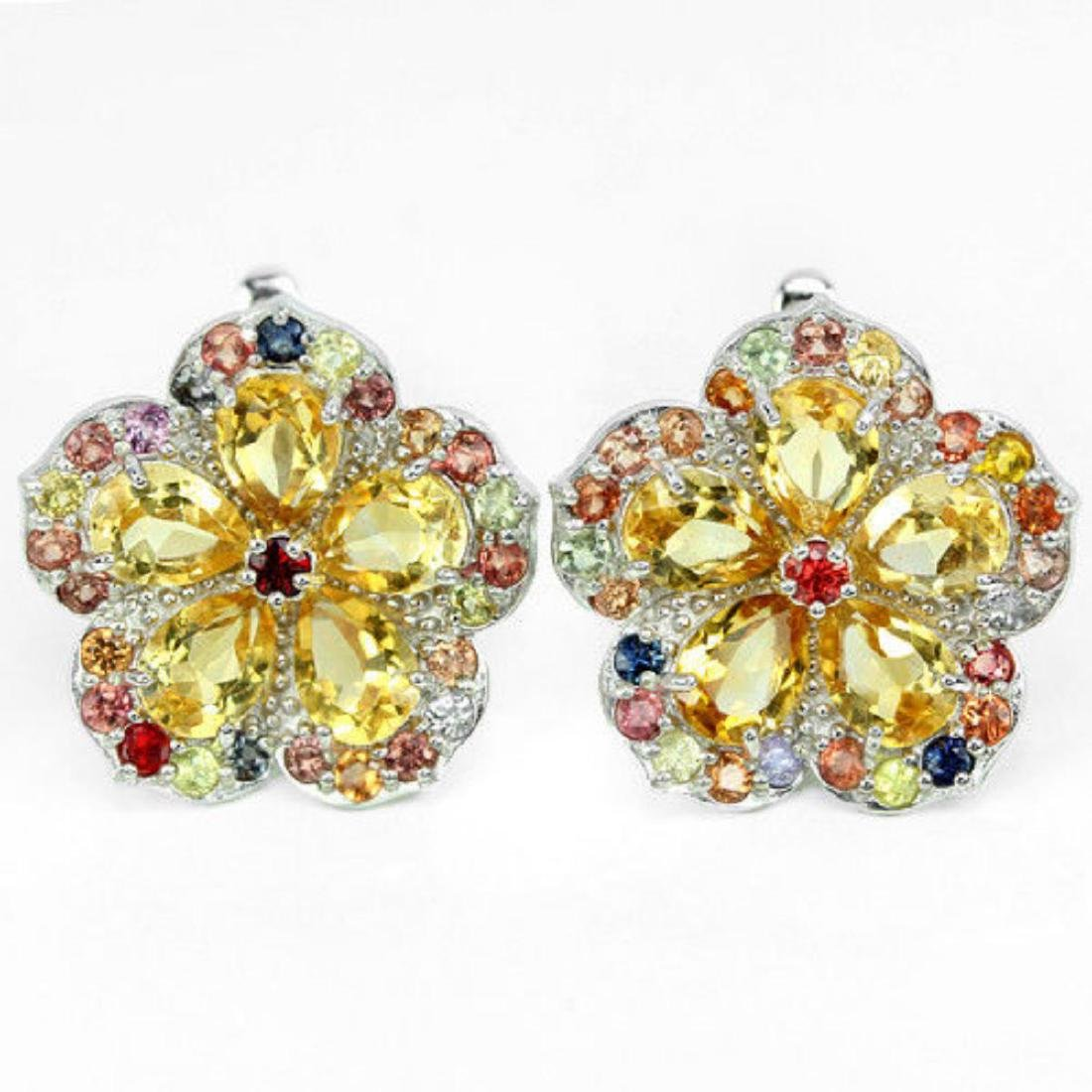 Natural YELLOW CITRINE & SAPPHIRE FLOWER Earring