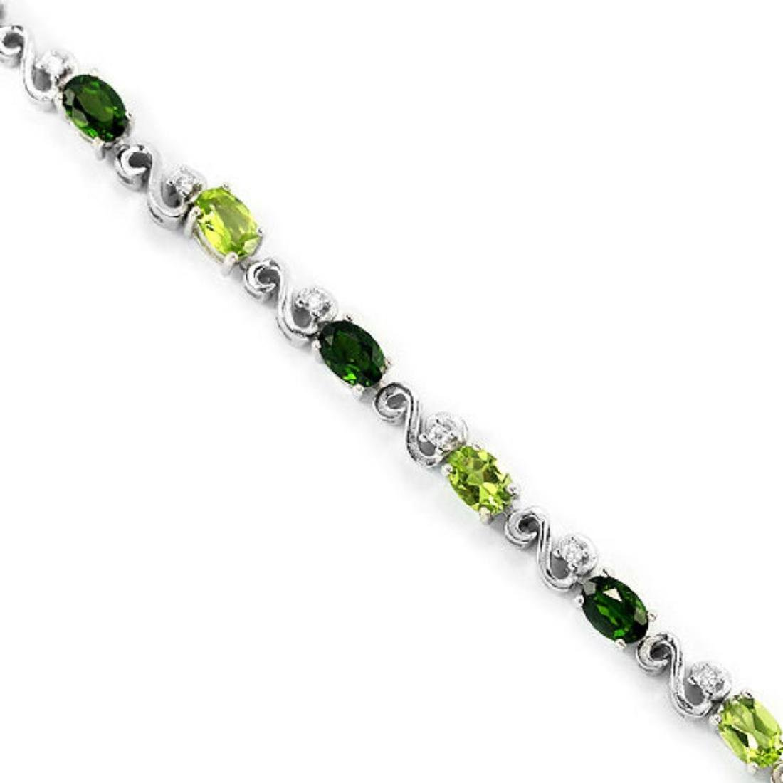 NATURAL  GREEN CHROME DIOPSIDE PERIDOT BRACELET - 2