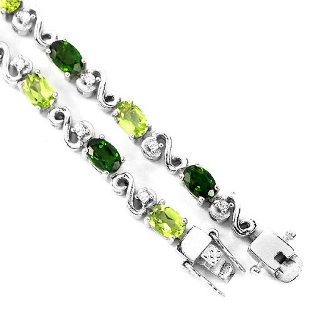 NATURAL  GREEN CHROME DIOPSIDE PERIDOT BRACELET - 3