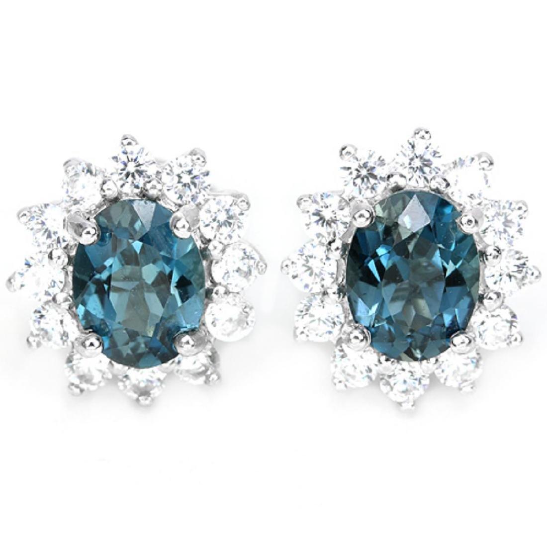 Natural London Blue Topaz 8x6 MM Earrings
