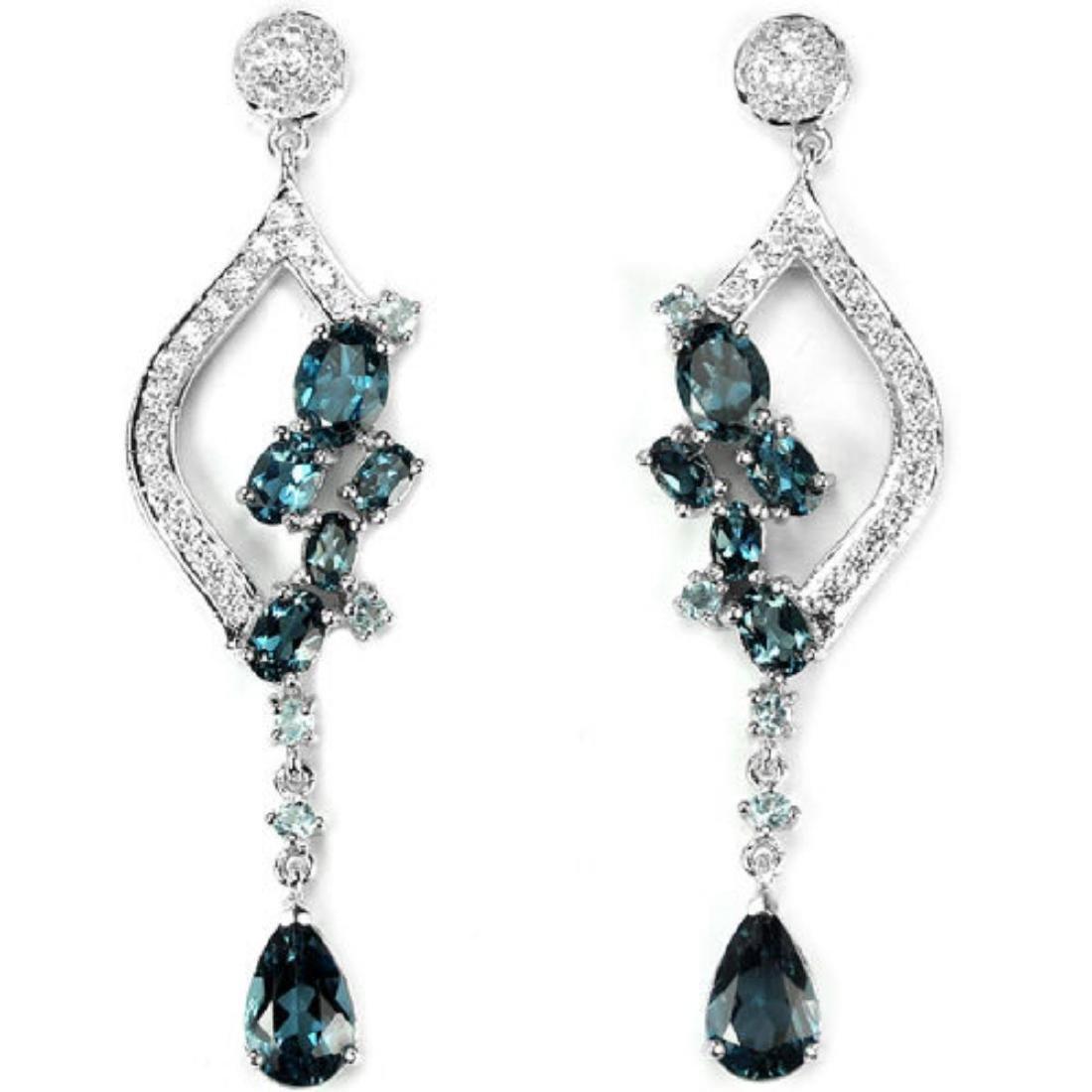 Natural London Blue Topaz 75 Carats Earrings